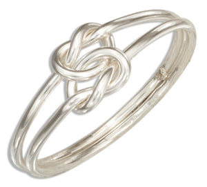 Sterling Silver Medium Gauge Double Love Knot Ring