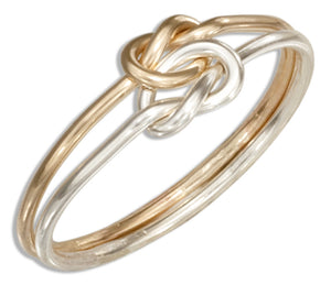 Sterling Silver and 12 Karat Gold Filled Medium Gauge Double Love Knot Ring