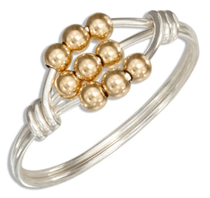 Sterling Silver Wire Wrap Ring with 12 Karat Gold Filled Scattered Beads
