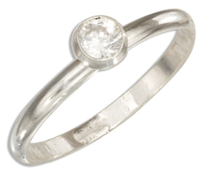 Sterling Silver 2mm Band Ring with Clear Round Cubic Zirconia