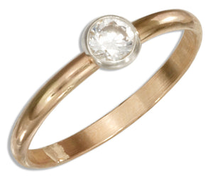 12 Karat Gold Filled 2mm Band with Clear Round Cubic Zirconia