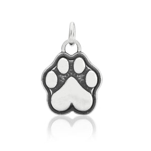 Sterling Silver Dog Paw Print with Heart Shaped Pad Charm