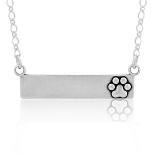 Sterling Silver 18 inch Engravable Luxury Paw Nameplate Dog Paw Print Necklace