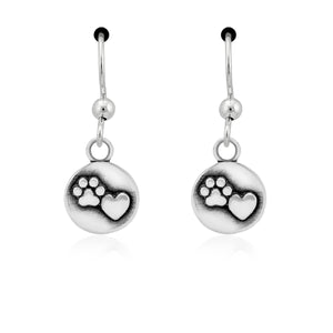 Sterling Silver Close To My Heart Paw Print Dangle Earrings on French Wires