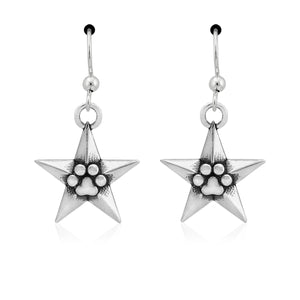 Sterling Silver Super Star Pawer Star and Paw Print Dangle French Wire Earrings