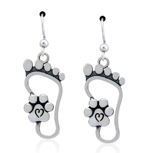 Sterling Silver I Will Never Walk Alone Foot Print Paw Print Dangle Earrings