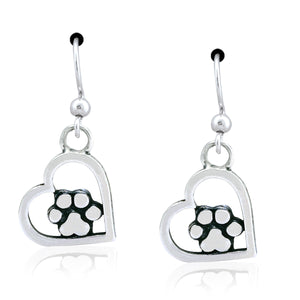 Sterling Silver You Walked Into My Heart Dog Paw Print Dangle Earrings