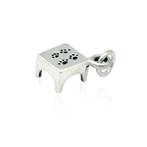 Sterling Silver Agility Pause Table Dog Charm with Paw Prints