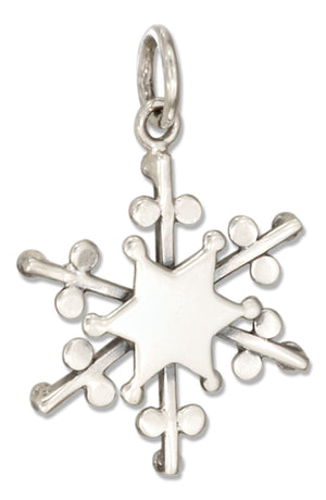 Sterling Silver Reversible Snowflake Charm