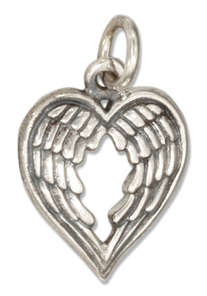 Sterling Silver Heart Shape Angel Wings Charm