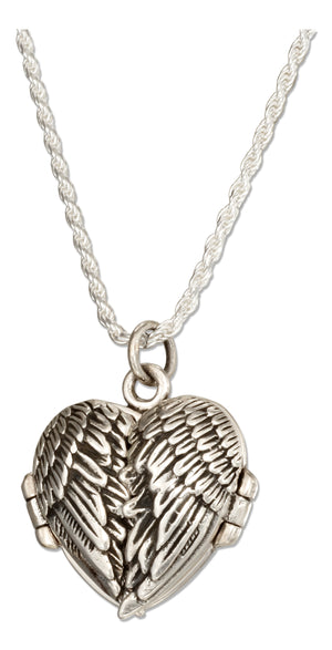 Sterling Silver 18 inch Antiqued Angel Wings Heart Locket Necklace