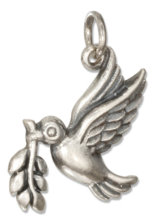 Sterling Silver Peace Dove Charm with Olive Branch