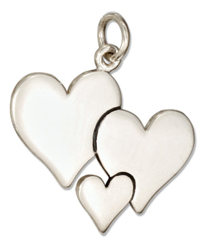 Sterling Silver Cluster Of Hearts Charm