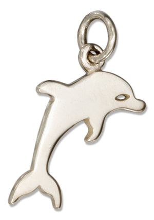 Sterling Silver Silhouette Jumping Dolphin Charm