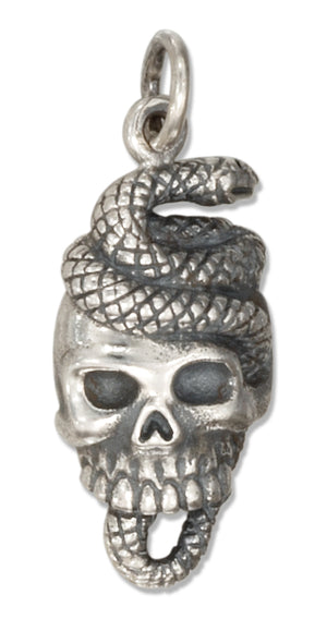 Sterling Silver Snake and Skull Charm
