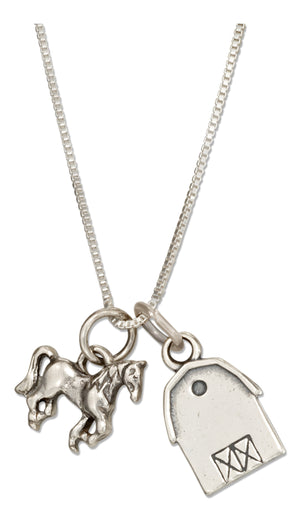 Sterling Silver 18 inch Barn and Horse Pendant Necklace