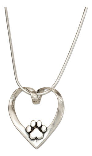 Sterling Silver 18 inch Heart with Paw Print Slider Pendant Necklace