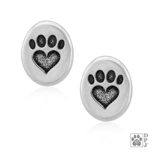 Sterling Silver Oval Paw Print Heart Post Earrings