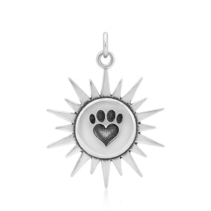 Sterling Silver Sunshine Paw Print Heart Pendant
