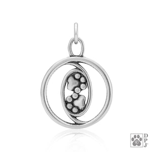 Sterling Silver Eternally Together Forever Paw Prints Pendant