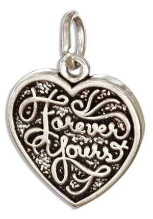 "Sterling Silver Reversible ""Forever Mine"" ""Forever Yours"" Heart Charm"