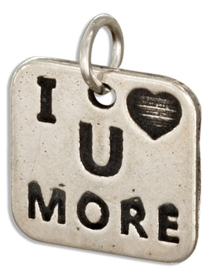"Sterling Silver Square ""I Heart U More"" Message Charm"