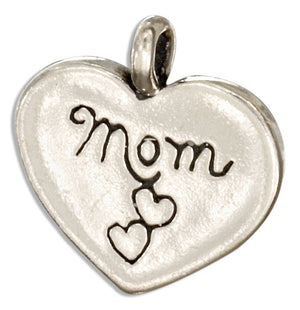 "Sterling Silver ""Mom"" Heart Message Pendant"