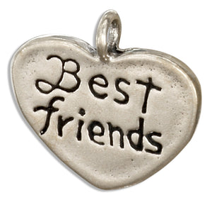 "Sterling Silver ""Best Friends"" Heart Message Pendant"