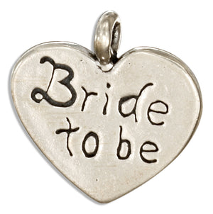 "Sterling Silver ""Bride To Be"" Heart Message Pendant"