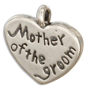 "Sterling Silver ""Mother Of the Groom"" Heart Message Pendant"