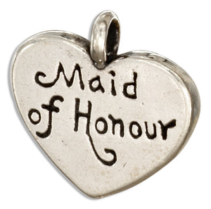 "Sterling Silver ""Maid Of Honor"" Heart Message Pendant"