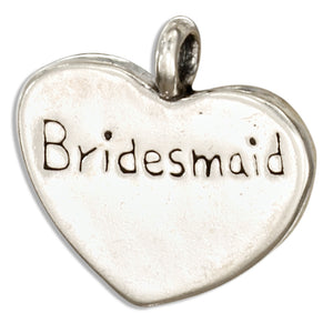"Sterling Silver ""Bridesmaid"" Heart Message Pendant"