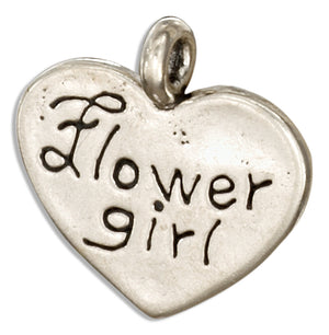 "Sterling Silver ""Flower Girl"" Heart Message Pendant"