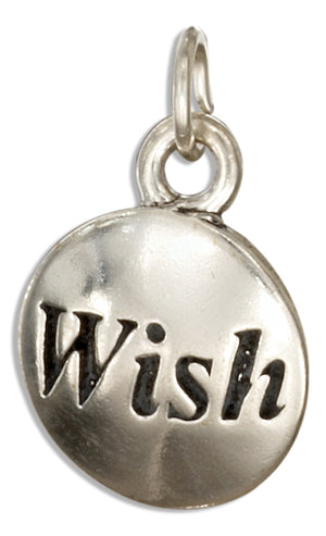 "Sterling Silver Round ""Wish"" Message Charm"