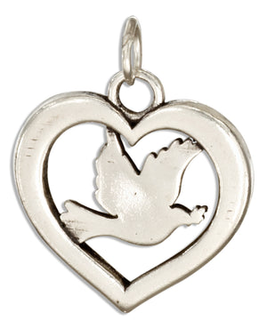Sterling Silver Dove Inside Heart Charm