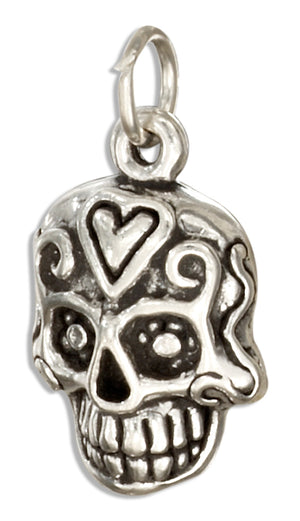 Sterling Silver Mexican Sugar Skull Charm