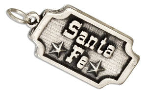 "Sterling Silver ""Santa Fe"" Tag Charm with Stars"