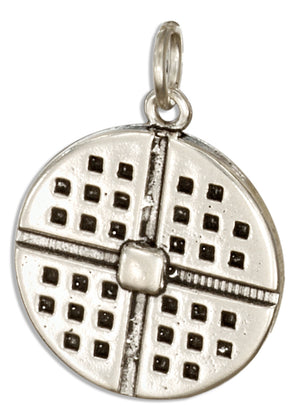 Sterling Silver 3D Round Waffle Charm with Butter