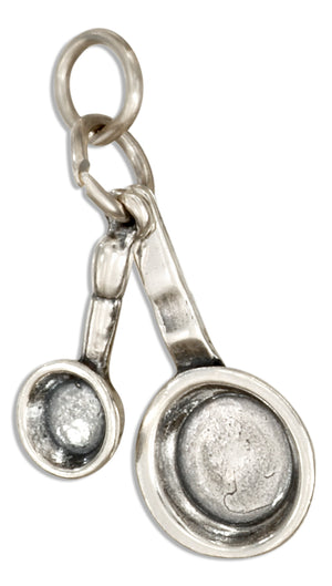 Sterling Silver 3D Set Of Frying Pans Charm