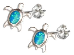 Sterling Silver Synthetic Blue Opal Turtle Earrings with Single Stone Shell