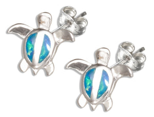 Sterling Silver Synthetic Blue Opal Turtle Earrings with Double Stone Shell