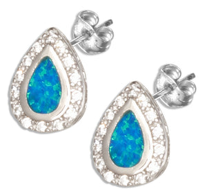 Sterling Silver Synthetic Blue Opal Teardrop Earrings with Cubic Zirconia Halo