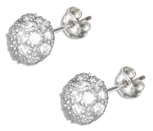 Sterling Silver Micro Pave Cubic Zirconia Half Round Button Earrings