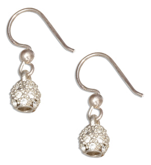 Sterling Silver Micro Pave Cubic Zirconia Kettle Ball Earrings