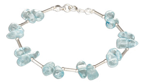Sterling Silver 7 inch Polished Nugget Blue Topaz Bracelet