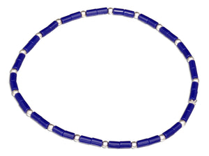 Sterling Silver 7 inch Deep Blue Heishi Bead Stretch Bracelet with Silver Accent Beads