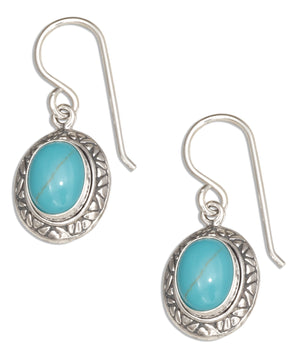Sterling Silver Simulated Turquoise Cabochon Earrings with Southwest Style Setting
