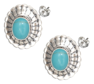 Sterling Silver Oval Simulated Turquoise Stone Concho Earrings
