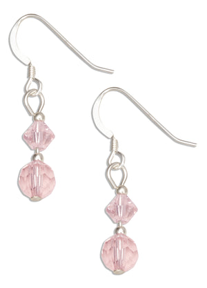 Sterling Silver Double Pink Crystal Dangle Earrings