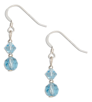 Sterling Silver Double Blue Crystal Dangle Earrings